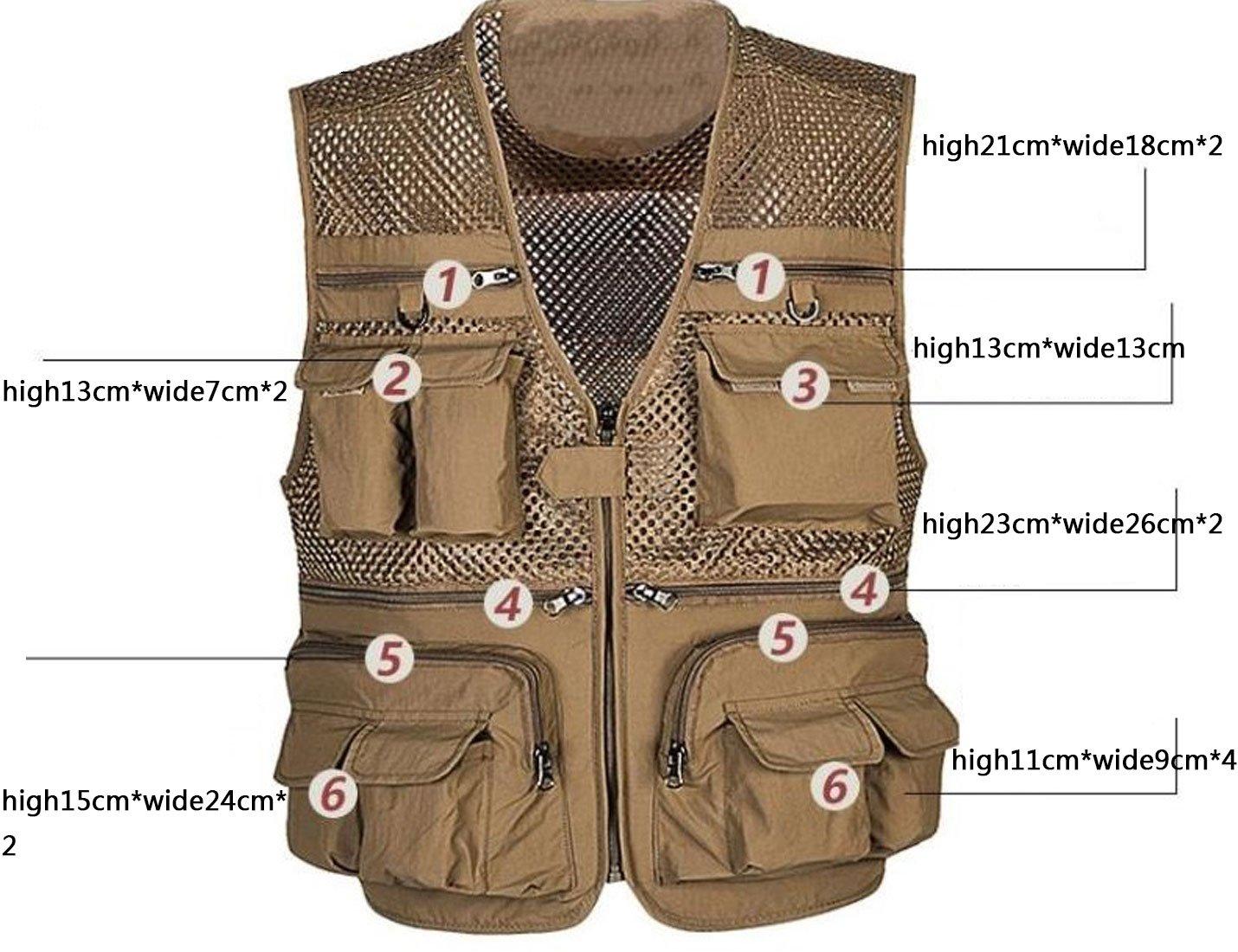 Zhusheng Men's Mesh 16 Pockets Photography Fishing Travel Outdoor Quick Dry Vest Breathable Waistcoat Jackets (XX-Large, Light Khaki) by Zhusheng (Image #3)