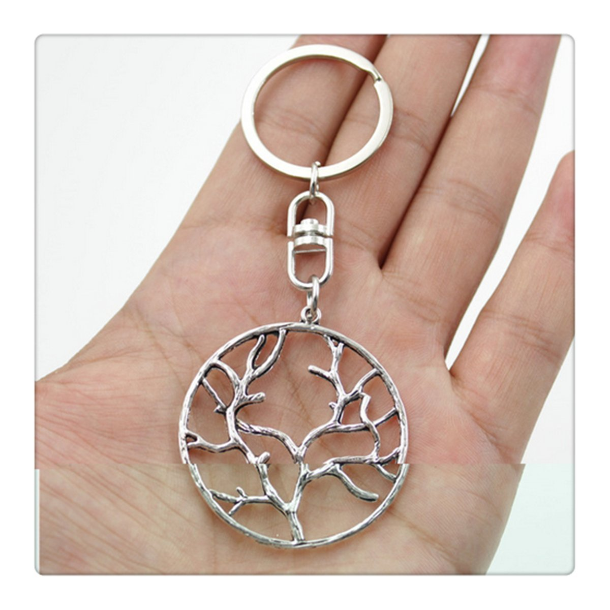 Vintage tree branch Key Rings Fashion Car Keychain Silver Color Metal Key Chains Accessory