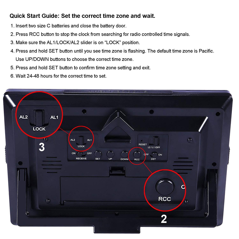 Hito 9 5 Large Digital Battery Atomic Alarm Clock Desk
