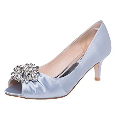 c5a8a3fc10b8 SheSole Womens Low Heel Dress Pumps Rhinestone Peep Toe Wedding Shoes Silver  US 9