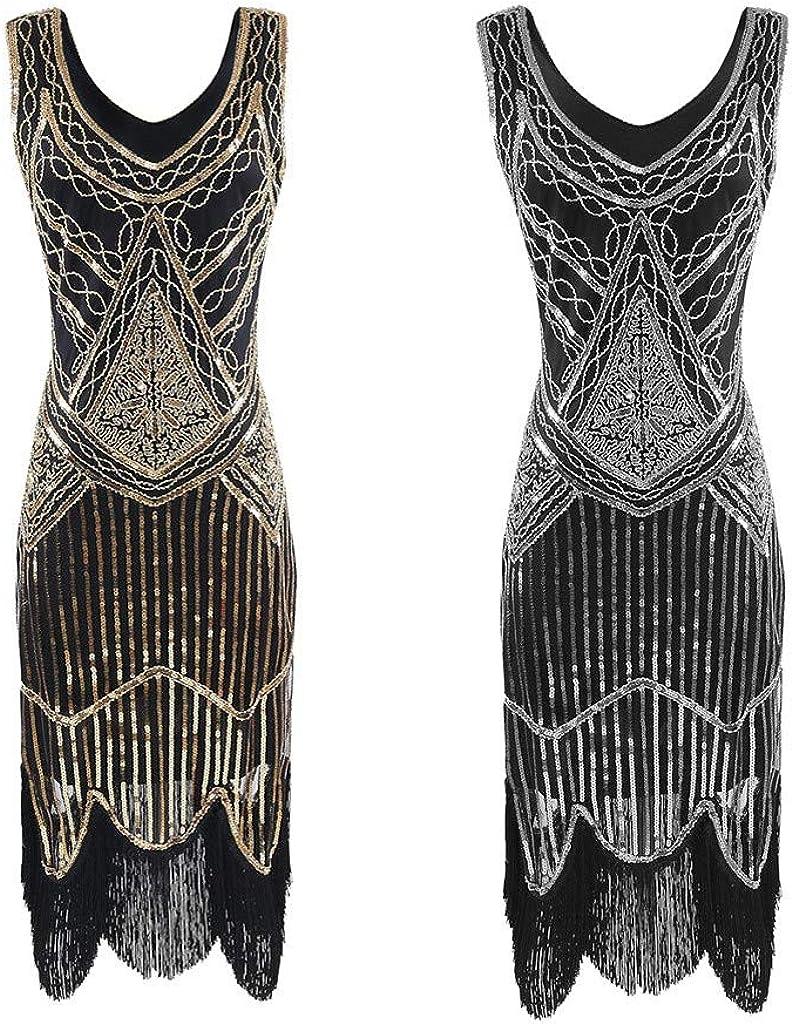 ZODOF Mujeres Lentejuelas Art Deco Inspirado Vestido De Fiesta Flapper: Amazon.es: Ropa y accesorios