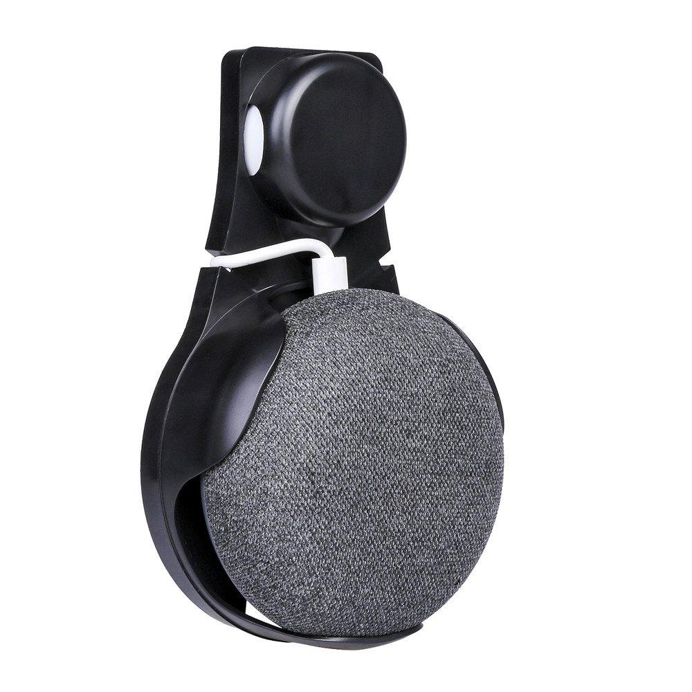 Google Home Mini Supporti da Parete, Mecohe Compatto Custodia del Supporto per Google Home Mini Voice Assistants, Presa da Parete adatto per Cucina, Bagno e Camera da Letto (Nero)