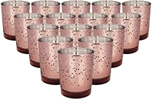 Just Artifacts Mercury Glass Votive Candle Holder 2.75-Inch (15pcs, Speckled Marsala) - Mercury Glass Votive Tealight Candle Holders for Weddings, Parties and Home Décor