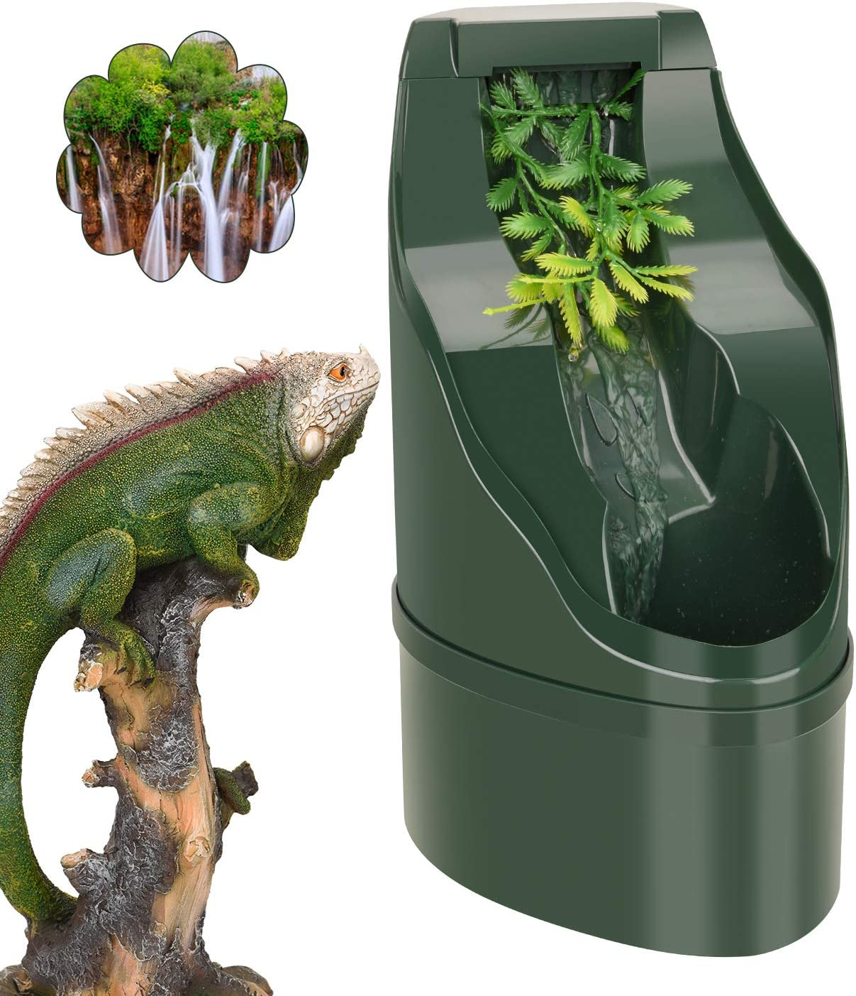 Ninuo Reptile Water Dispenser - Snake, Gecko, Chameleon, Tortoise, Bearded Dragon Drinking Water Dripper Bowl for Your Pet Reptiles - Large Nontoxic Fountain Water Dish – Terrarium & Tank Accessories