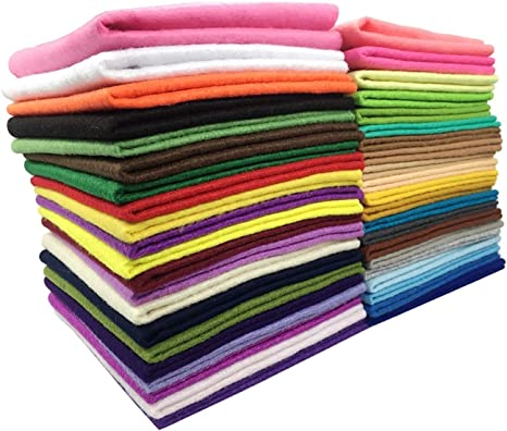 LifeGlow 42Pcs 1.5mm Thick DIY Polyester Soft Felt Fabric Squares Sheets Felt Pack Assorted Colors Sewing Nonwoven Patchwork 6x6 inch for Crafts 15x15cm