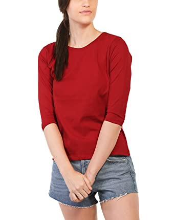Buy Bewakoof Bold Red Women S Cotton Plain Round Neck 3 4 Sleeve T Shirts Xl At Amazon In