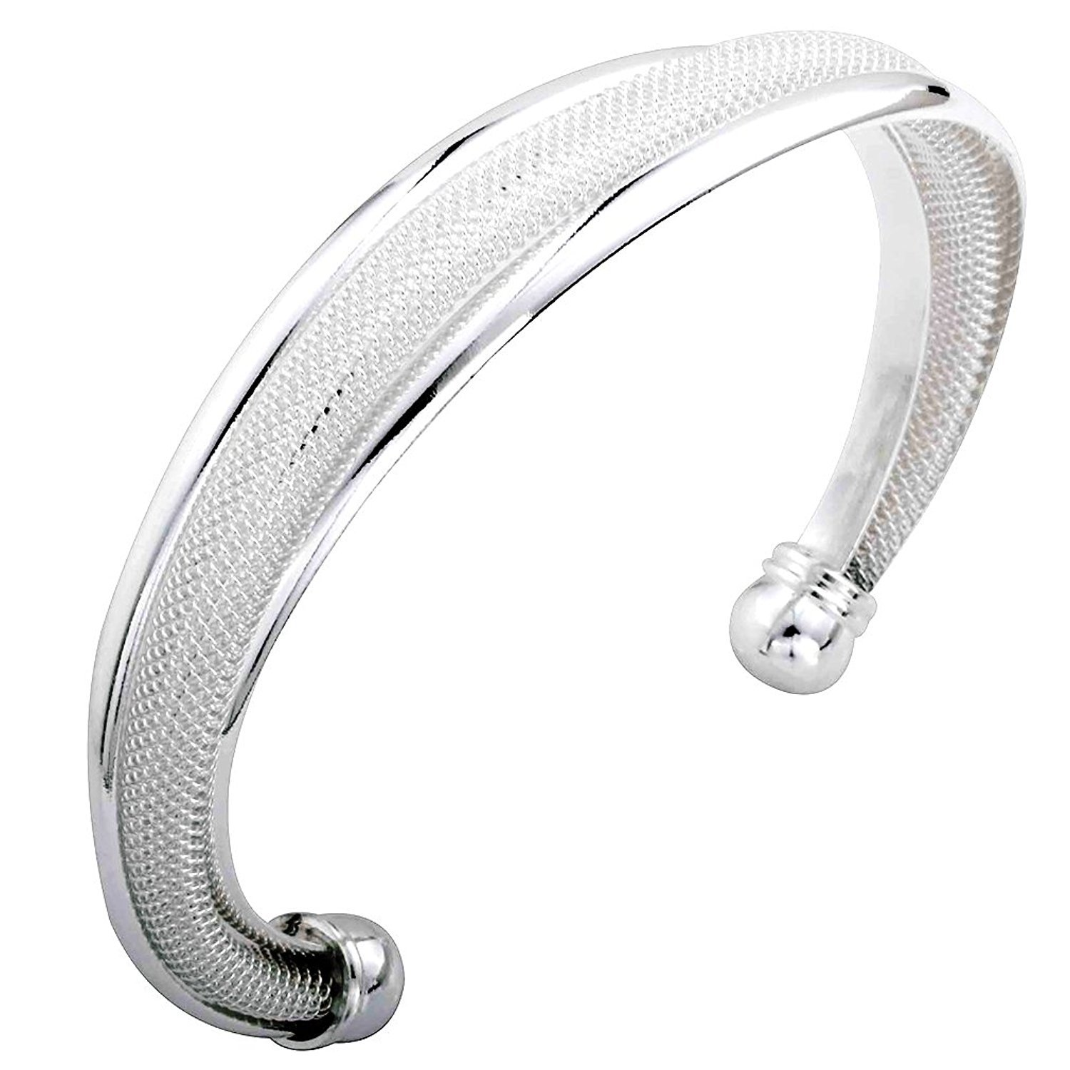 DVANIS Jewelry Noble Cuff Traditional Plated Silver Bangle Bracelet for Women Gift Idea