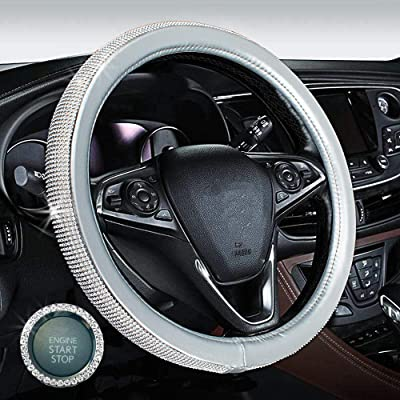 GES Crystal Steering Wheel Cover for Women, 15 Inch Diamond Steering Wheel Cover for Car Steering Wheel Cover, Car Bling Steering Wheel Covers with Car Bling Ring (Silver): Automotive