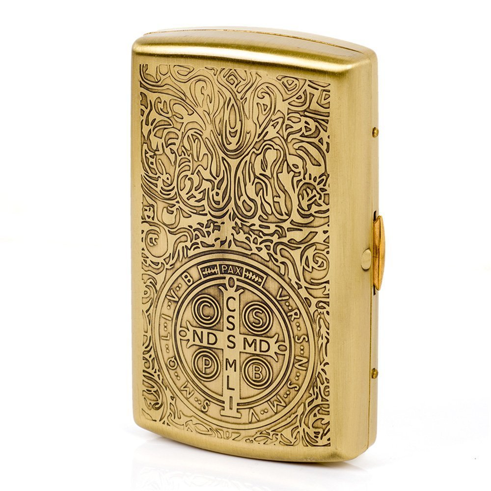 Pure Brass Metal Cigarette Case Box - Ehonestbuy Carved Constantine Pattern Double Sided Spring Clip Open Pocket Holder for 12 Cigarettes