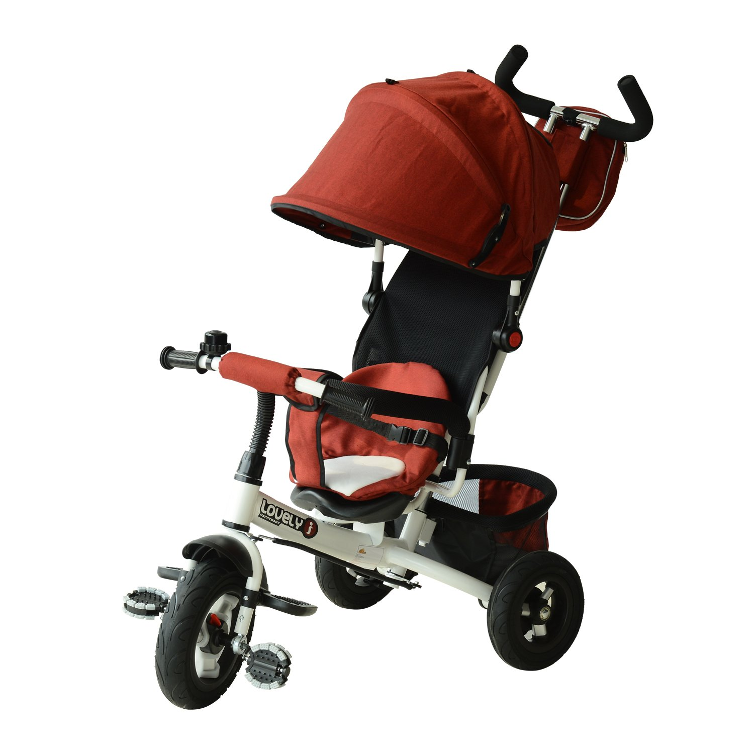 Qaba 2-in-1 Lightweight Steel Adjustable Convertible Tricycle Stroller - Red