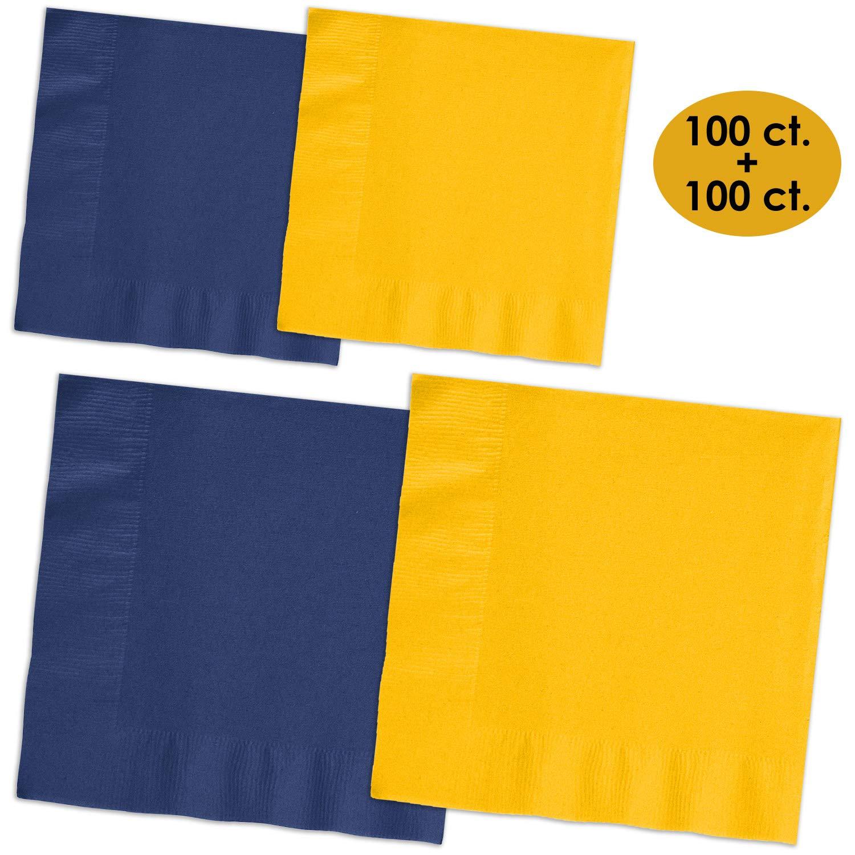 200 Napkins - Navy blue & Sunshine Yellow - 100 Beverage Napkins + 100 Luncheon Napkins, 2-Ply, 50 Per Color Per Type
