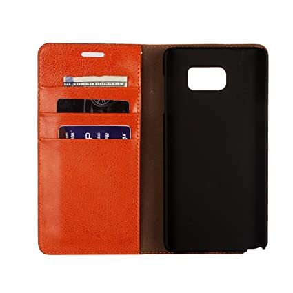 detailed look 7b850 6f2d1 Genuine Leather Case for Samsung Galaxy S5 / S5 Neo- [Wallet Case] [3 Card  Slots] [Magnetic Closure] Folio Flip Cowhide Leather Stand Case Cover