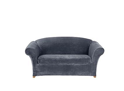 Astounding Amazon Com Sure Fit Stretch Plush Separate Seat Loveseat Unemploymentrelief Wooden Chair Designs For Living Room Unemploymentrelieforg