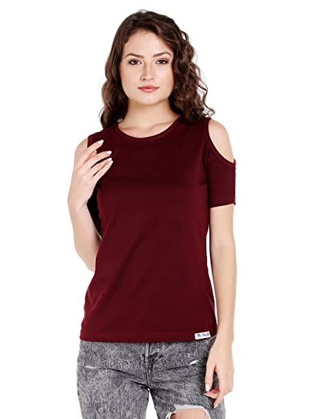 8d337dc58fd629 The Dry State Women s Cotton Cold Shoulder Top  Amazon.in  Clothing ...
