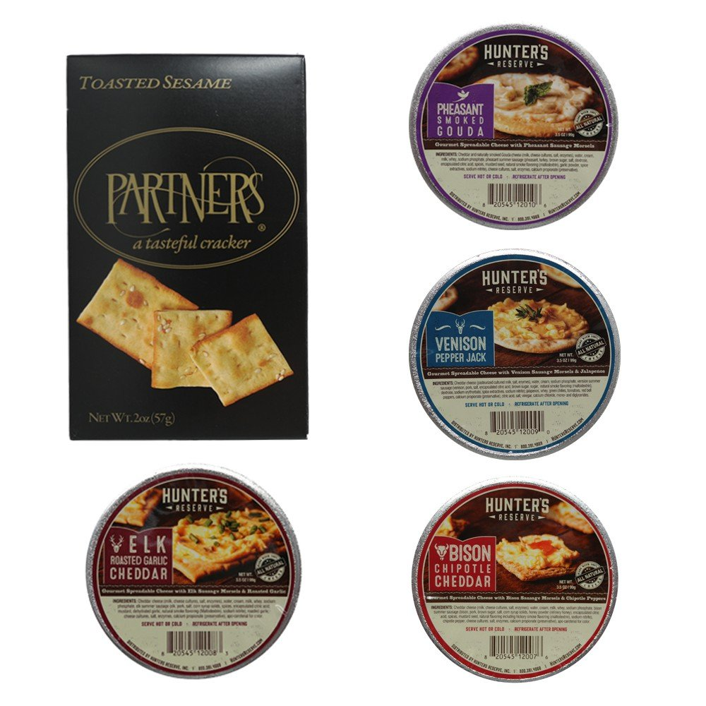 Hunter's Reserve Wild Game Cheese Spread Gift Box, 4 - Assorted Spreadable Cheese Flavors with Wild Game Morsels