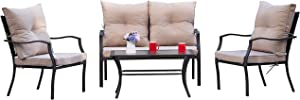 Kullavik 4-Piece Patio Furniture Set Outdoor Conversation Set Steel Frame Sectional Chat Sofa with 4 Seats, 4 Cushions & 1 Tempered Glass Coffee Table, Sand