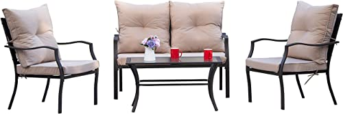 Kullavik 4 Pieces Patio Furniture Set Outdoor Conversation Set Steel Frame Sectional Chat Sofa