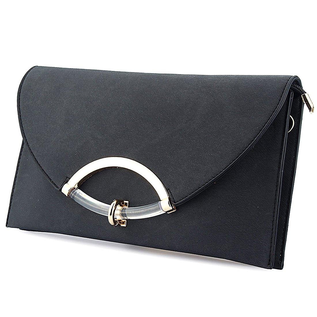 Women Leather Messenger Envelope Bags Shoulder Handbag Evening Clutch Bag with Adjustable Strap (Black)