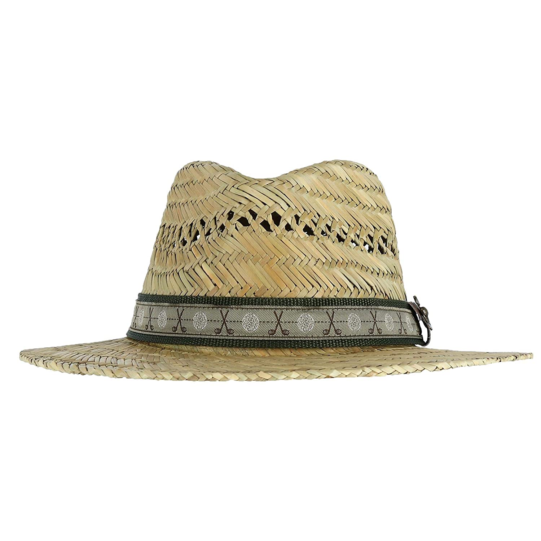 4a499bcf8 Scala Classico Men's Rush Straw Safari Hat with Golf Club Pin and ...