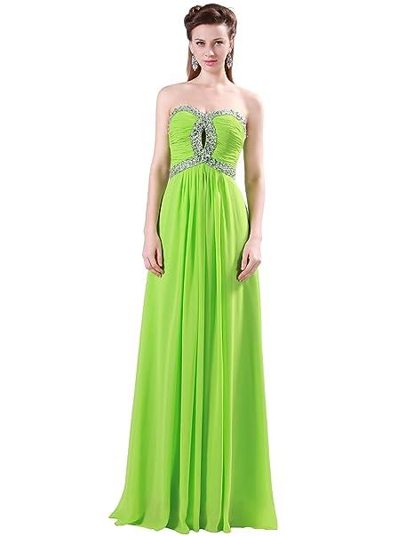 Quissmoda vestido corto largo fiesta, noche, gala, talla 34, color verde