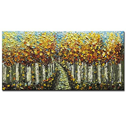 ee13ca5a4af68 Asdam Art-Yellow Birch Tree Oil Painting on Canvas Landscape 100% Hand  Painted 3D Horizontal Wall Art Modern Abstract Paintings for Living Room ...