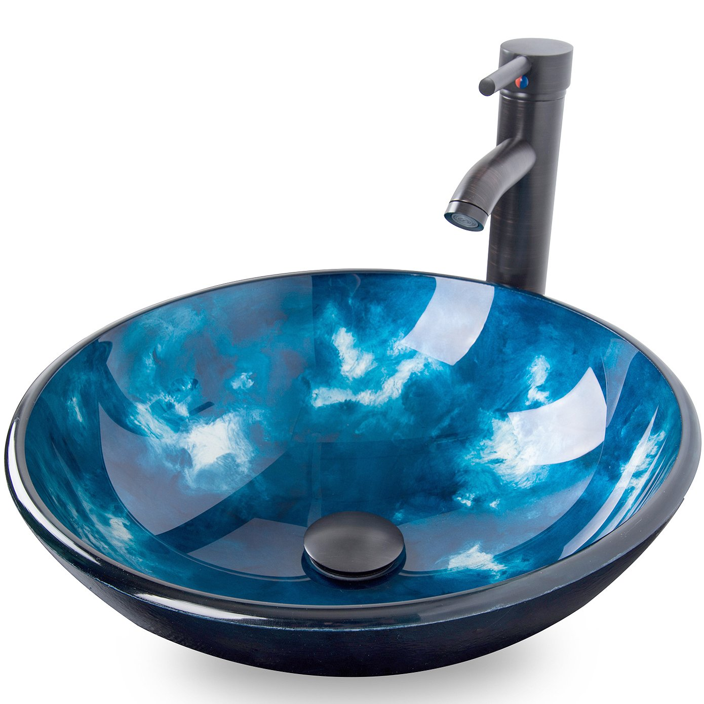 4. Elecwish Bathroom Artistic Glass Vessel Sink