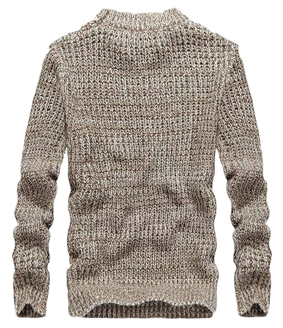Cromoncent Mens Long Sleeve Striped Pullover Casual Crewneck Knitted Jumper Sweaters