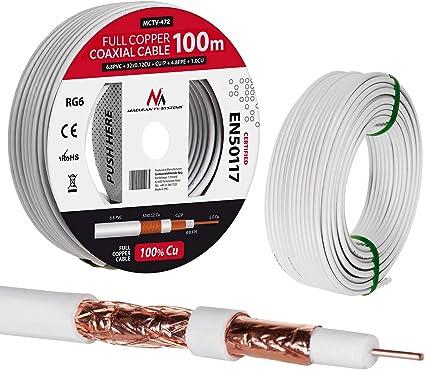 Maclean MCTV Cable de antena coaxial RG6 Cobre puro 100% CU Cable de antena de TV satelital coaxial (100m)