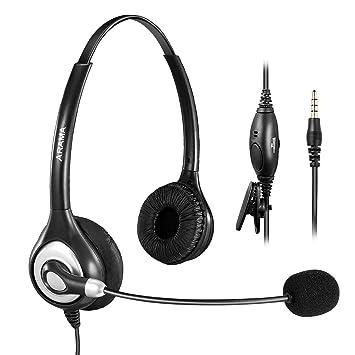 Arama Auricular Binaural 3,5 mm,Auricular con Micrófono y Ajustable Ajuste Venda para