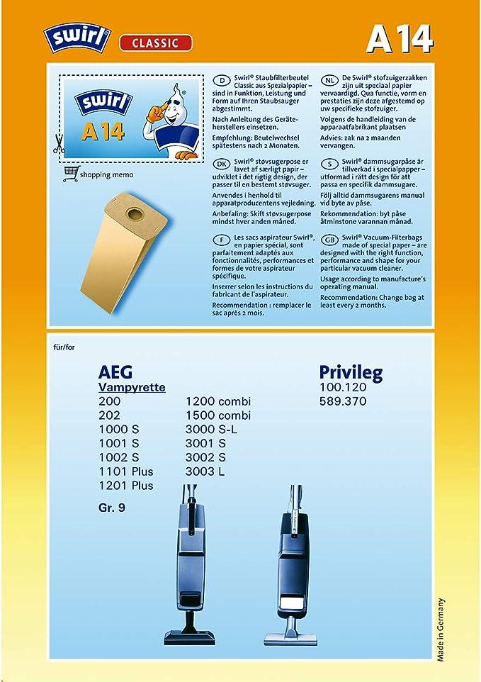 Staubsaugerbeutel passend für AEG Vampyr 4002 Super Staubbeutel Staubtüten