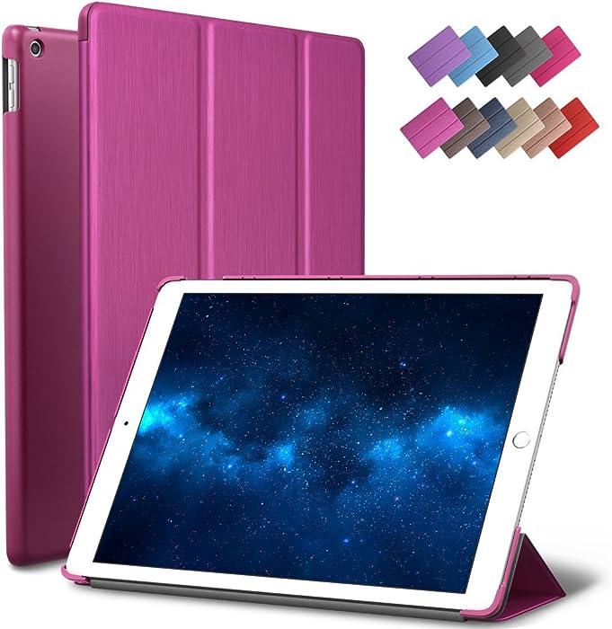 New iPad 9.7-inch 2018 2017 Case, ROARTZ Metallic Magenta Slim-Fit Smart Rubber Folio Case Hard Cover Light-Weight Wake Sleep for Apple iPad 5th 6th Generation Retina Model A1893 A1954 A1822 A1823