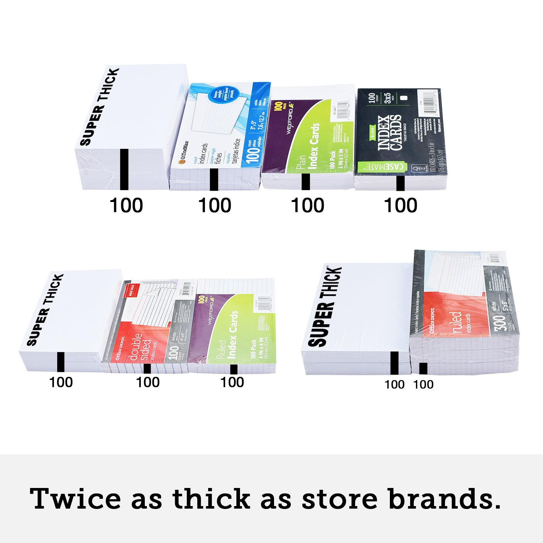 Amazon.com : 100 SUPER THICK 3x5, 17pt, blank, heavyweight index ...