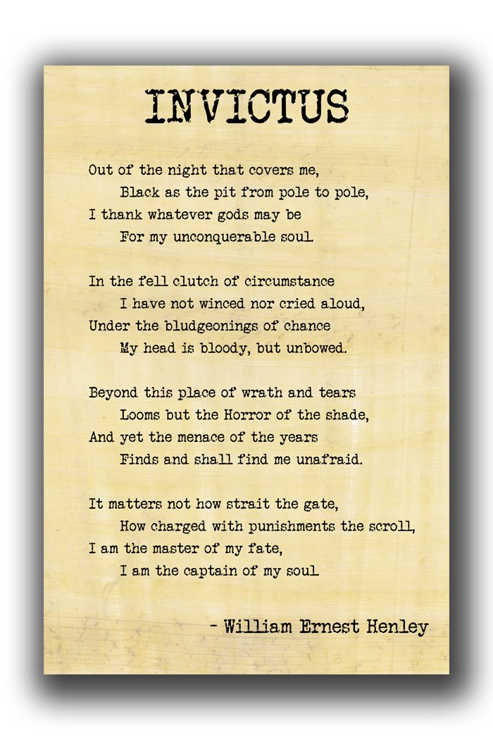 Alter Ego Invictus Poetry William Ernest Henley Matte Wall Poster 19in 13in