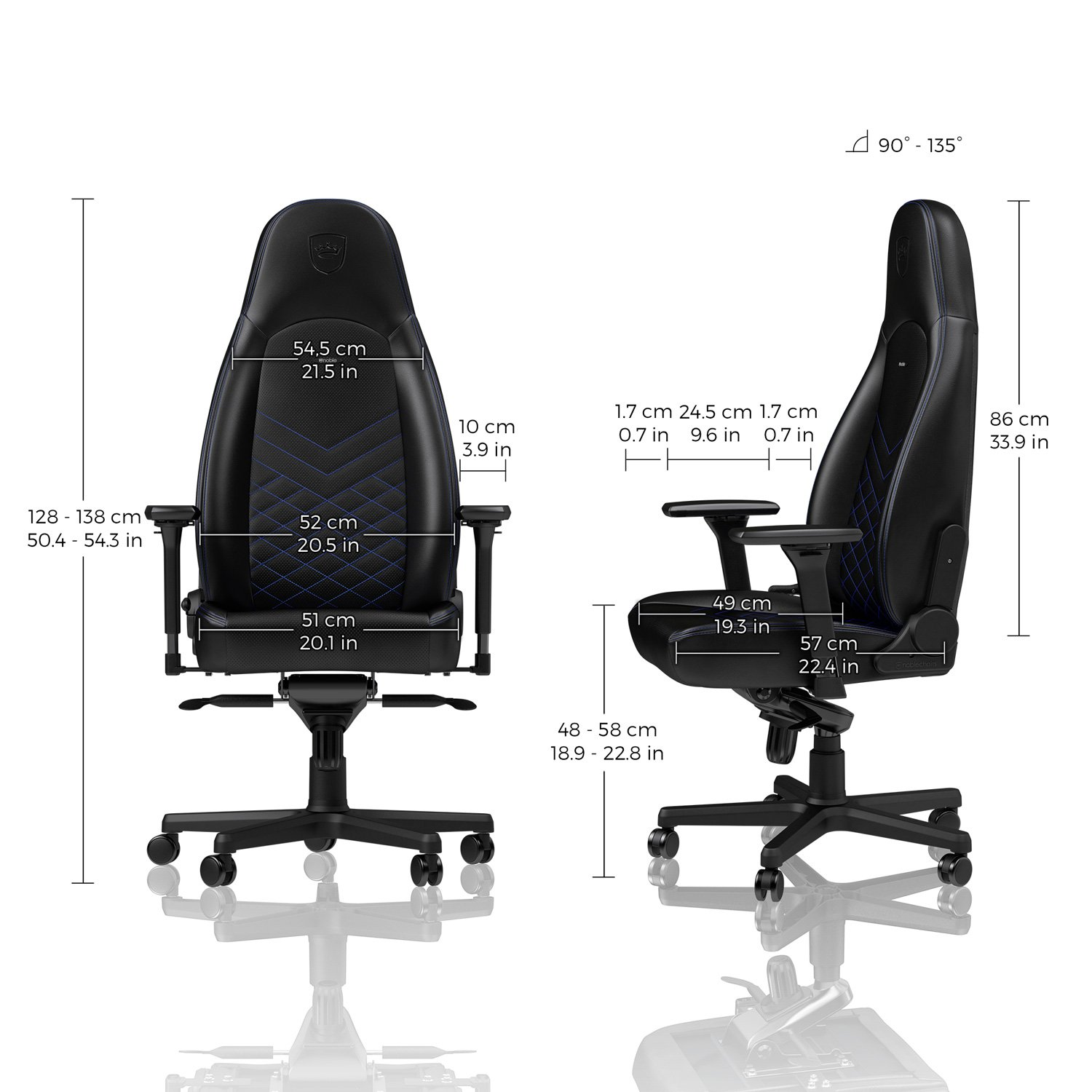 Noblechairs NBL-ICN-PU-BBL ICON Series PU Leather Gaming Chair-Black//Blue Black//Blue