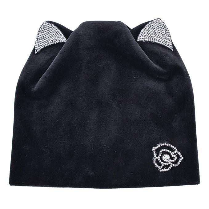 afa10922ce7 Hulione Women Rhinestone Velvet Soft Skullies Cap Winter Warm Hats Cat Ear  Beanie Hat Girls Caps
