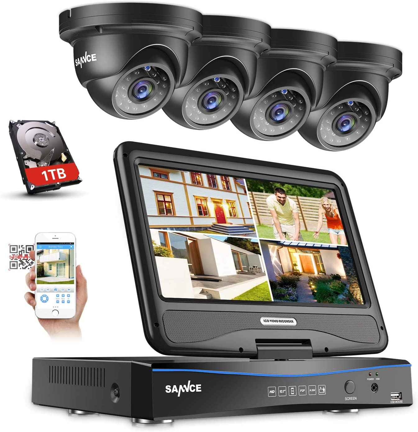 SANNCE 4-Channel 1080P 10.1 LCD Monitor with 4 1080P Dome Cameras, Clear Day Night Vision Easy Remote Access Motion Detection Email Alert Security Camera System,1TB Hard Drive Included