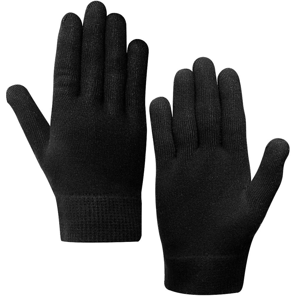Happon Moisturizing Gel Gloves Soft Spandex with Thermoplastic Gel Repair Heal Eczema Cracked Dry Skin, Gel Lining Infused with Essential Oils and Vitamins for Dry Hard Cracked Skin - Black