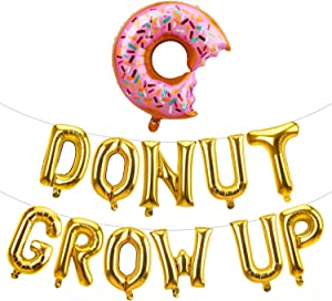 Kauayurk Donut Grow Up Balloons Banner Decorations - Donut Birthday Party Decorations Supplies - Gold Donut Theme Party Decor for Girls Boys Baby Shower