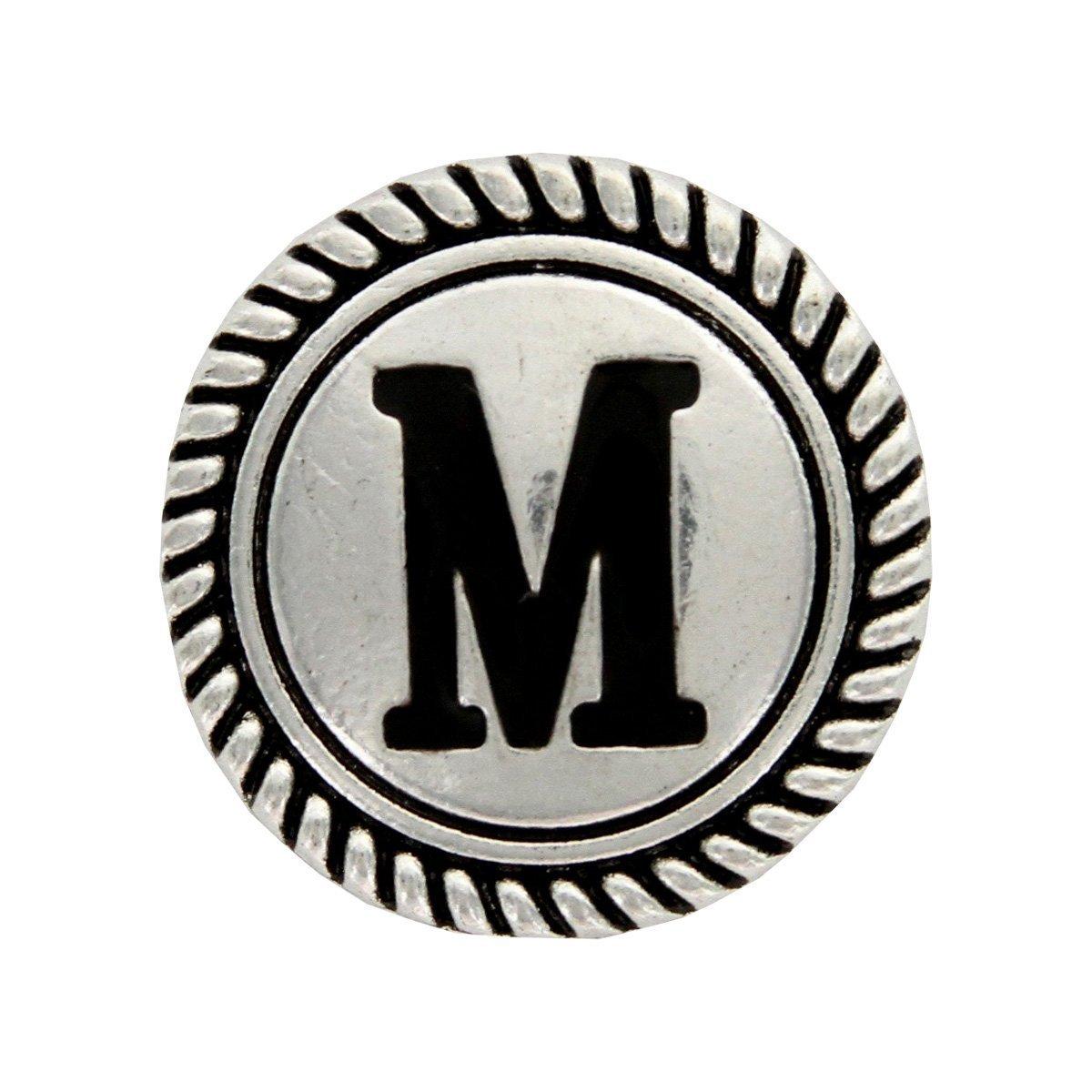 Y Cross Brand Wild Rag Scarf Slide 1 1/8'' Alphabet Letter ''M'' Initial