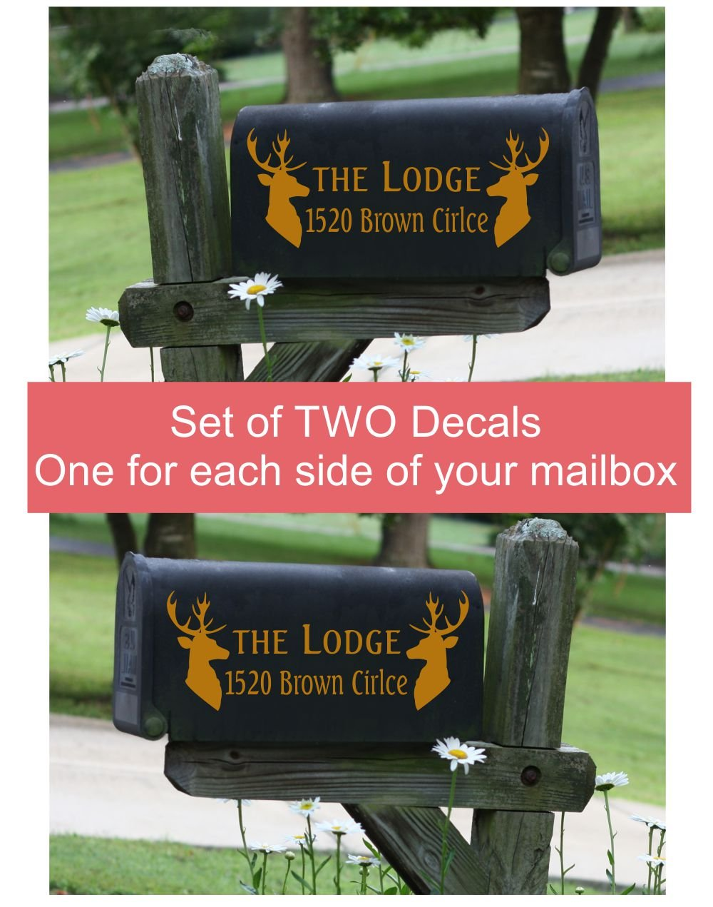 Mailbox Decals with Deer Mount Silhouettes Set of 2 Name, House Number, and Street Name Address