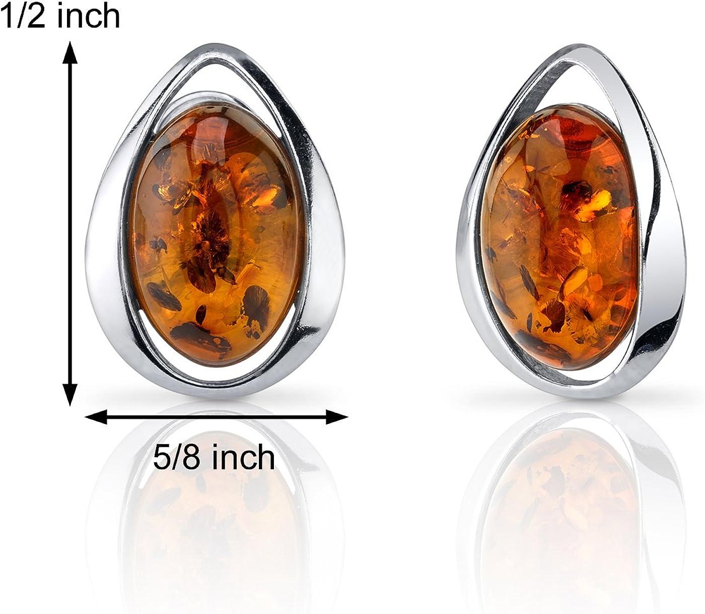 Cognac Baltic Amber 925 Sterling Silver Oval Stud Earrings Jewellery