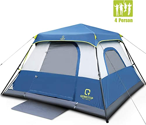 OT QOMOTOP Family Camping Tents, 4 6 8 10 Person Instant Setup 60s Tent with Rainfly and Carry Bag, Waterproof Tents with Electric Cord Access