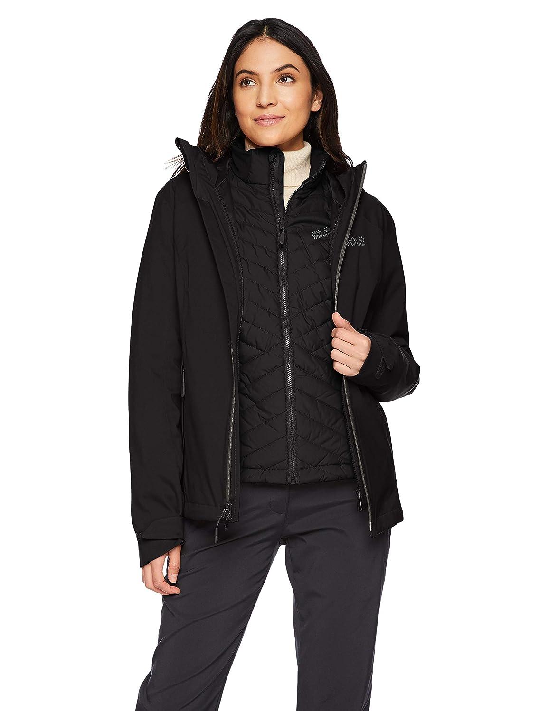 Black Jack Wolfskin Women's Aurora Sky 3in1 Waterproof Hybrid DownFiber Insulated Jacket