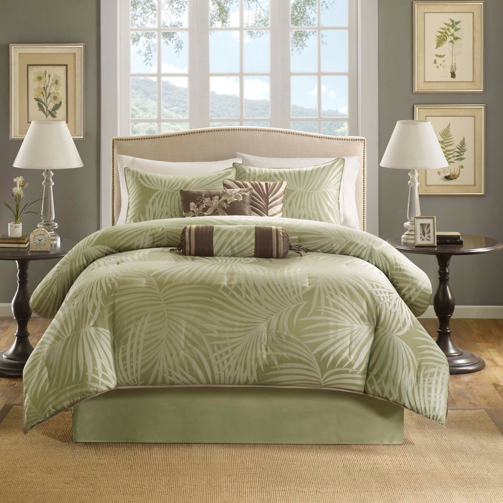 Madison Park Freeport Queen Size Bed Comforter Set Bed in A Bag - Green, Jacquard Palm Leaf – 7 Pieces Bedding Sets – Peach Skin Fabric Bedroom Comforters