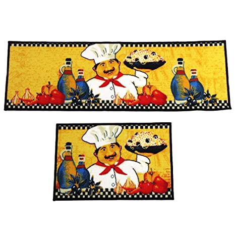 Wolala Home 2 Pieces Sets Fat Chefs Kitchen Floor Mats Runner Rug  Set,Kitchen Area Rug,Yellow Kitchen Rugs and Mats (1\'3x2\'0+1\'3x4\'0, Yellow)