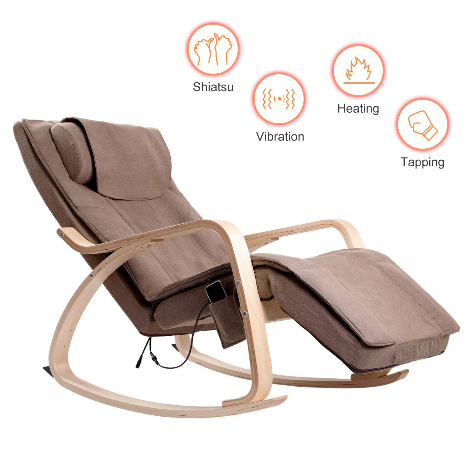 Household Massage Chair Recliner, Rimdoc 3D Full Back Electric Full Body Massage Chair with Rocking Design, Adjustable Pillow, Vibrating and Heating, Relieve Muscle Pain Shiatsu Recliner (Brown)