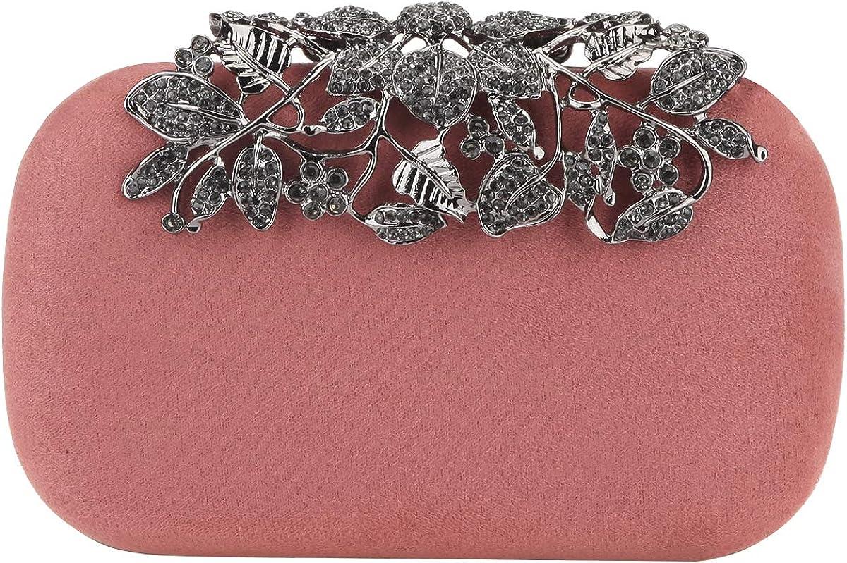 Fawziya Flower Purses With Rhinestones Crystal Evening Clutch Bags-Pink Blush