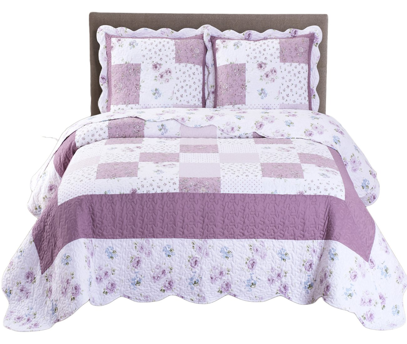 Royal Tradition Ventura Floral Printed Microfiber Oversized Twin/Twin Extra Long XL 2PC Quilt Set, Shades of Purple