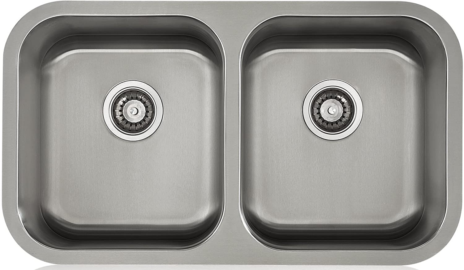 Lenova LD16620 Apogee Stainless Steel Equal Double Bowl Under-Mount Kitchen Sink, 16-Gauge