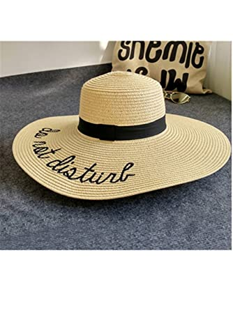 ea4a888c10a Dorathywatm New Summer Big Wide Brim Straw Hat Letter Embroidery Visor Beach  Hat Foldable Sun Hats